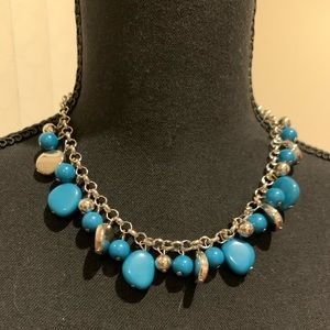 Blue Pebble Necklace and Earrings